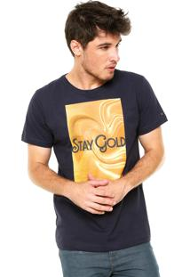 Camiseta Fiveblu Manga Curta Stay Gold Azul