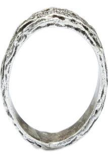Anel Kumbayá Textura De Madeira Prata 925
