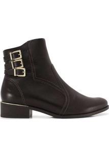 Ankle Boots Feminina Ramarim Fivelas Cafe