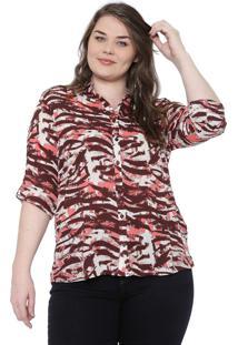 Camisa Cativa Plus Estampada Marrom/Rosa