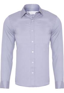 Camisa Masculina Chambray Maquineta - Cinza