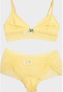 Conjunto Mimar De Sutiã Triângulo + Calcinha Renda - Feminino-Amarelo Claro