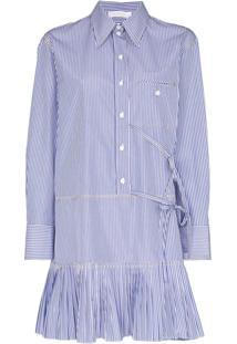 Chloé Vestido Risca De Giz Mini De Algodão - Azul