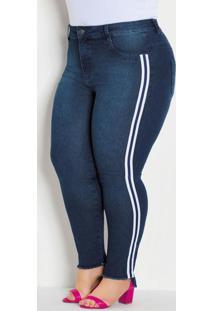 Calça Jeans Com Faixa Lateral Plus Size Jeans