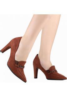 Sapato Scarpin Piccadilly Bico Fino Marrom