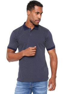 Camisa Polo Broken Rules Full Print Azul-Marinho