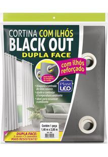 Cortina Blackout Plastleo 1,40X2,00M Branca Com Ilhós Pvc