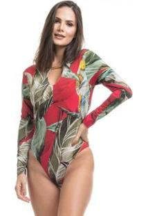 Body Clara Arruda Manga Longa 17002 - Feminino-Vermelho