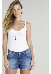 Body Feminino Em Tricô Com Tiras Alças Finas Decote V Branco