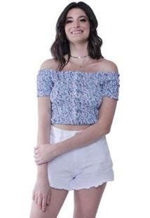 Blusa Lastex Botões Flores Pop Me Feminina - Feminino-Azul