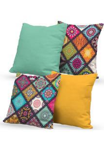 Kit 4 Capas De Almofadas Decorativas Own Mandalas Colors 45X45 - Somente Capa