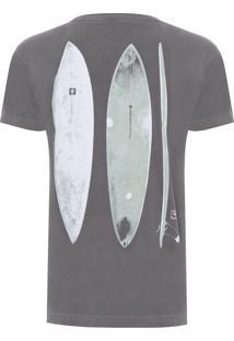 Camiseta Masculina Stone Surfboards - Cinza