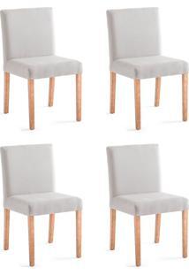 Conjunto Com 4 Cadeiras De Jantar Rose Cinza Claro E Castanho