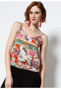 Blusa Floral Com Tiras - Vermelha & Verdelez A Lez