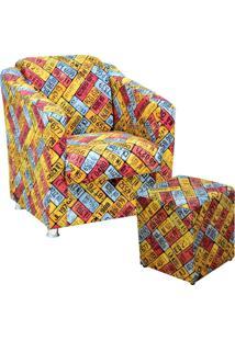 Poltrona Decorativa Lyam Decor Com Puff Laura Amarelo - Amarelo - Dafiti
