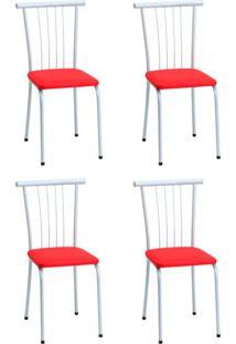 Conjunto Com 4 Cadeiras Josefa Vermelho E Branco