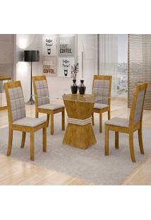 Conjunto De Mesa De Jantar Vitória Com 4 Cadeiras Rubi Suede Ypê E Cinza