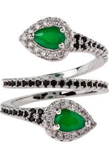 Anel Snake The Ring Boutique Pedra Cristal Verde Esmeralda Ródio Ouro Branco