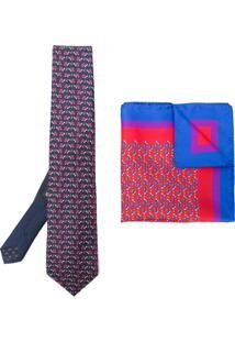 Etro Conjunto Com Gravata E Lenço De Bolso Estampado - Azul