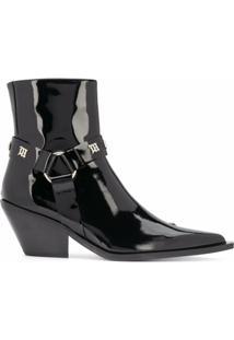 Misbhv Ankle Boot Bico Fino Com Tachas - Preto
