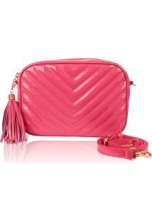 Bolsa Transversal Campezzo Couro Pink Verniz