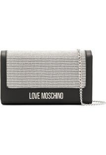 Love Moschino Bolsa Transversal Com Placa De Logo E Tachas - Preto