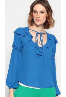 Blusa Lisa Com Babado - Azul - Chocoleitechocoleite