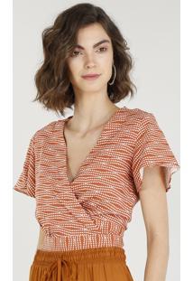 Blusa Feminina Cropped Transpassada Estampada Com Linho Manga Curta Decote V Cobre