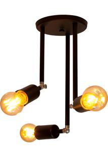 Plafon Sobrepor Para 3 Lâmpadas Taschibra Pointer Preta Fosca Bivolt