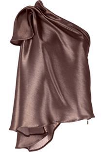 Maticevski Blusa Metálica Com Ombro Único - Dourado