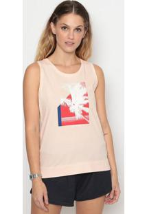Blusa Coqueiro Com Fendas - Rosa Claro & Vermelhacalvin Klein