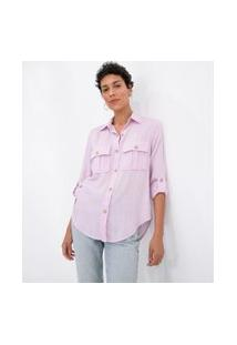 Camisa Manga Longa Lisa Com Botões Tartaruga E Bolsos   Marfinno   Rosa   P