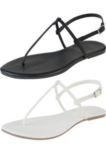 Kit 2 Pares Sandália Flat Simples Mercedita Shoes Napa Preto E Branca