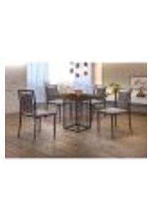 Conjunto De Mesa De Jantar Hera Com Tampo Mocaccino E 4 Cadeiras Grécia Ii Linho Bege E Preto