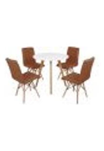 Mesa Inês 80Cm Branca + 4 Cadeiras Eiffel Gomos - Marrom
