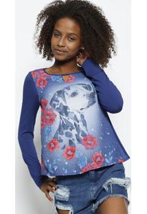 Blusa Com Recorte Vazado - Azul & Rosa - Enfimenfim