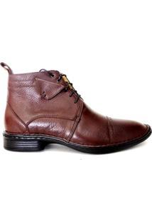 Botina Masculina Em Couro Riber Shoes Com Amarração - Masculino-Marrom