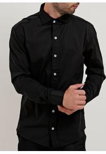 Camisa Slim Fit Manga Longa Masculina Preto