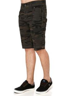 Bermuda Jeans Masculina Camuflada Verde
