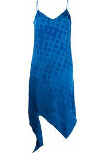Off-White Slip Dress De Jacquard - Azul