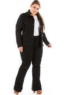 Jaqueta Jeans New Stretch Com Puídos Plus Size