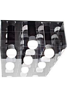Plafon Versus Retangular 15W-Taschibra - Transparente / Preto