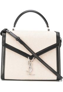 Saint Laurent Cassandra Monogram Clasp Bag - Neutro