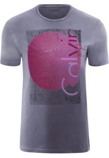 Camiseta Masculina Ckj Manga Curta Estampa E Gel - Chumbo