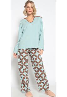 Pijama Manga Longa & Calã§A- Azul Claro & Marromsonhart