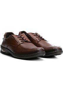 Sapato Social Couro Pegada Confortável Masculino - Masculino-Marrom Escuro
