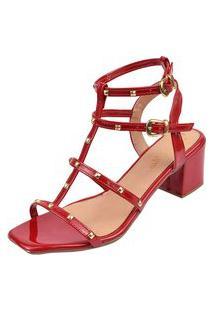 Sandália Salto Bloco Rosa Chic Calçados Gladiadora Spike Bico Quadrado Tachas Vermelha