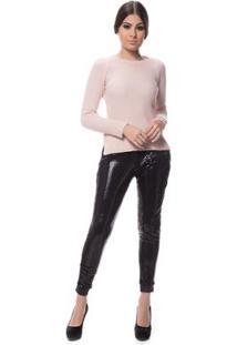 Blusa Logan Tricot Clássica Ponto Arroz - Feminino-Rosa Claro