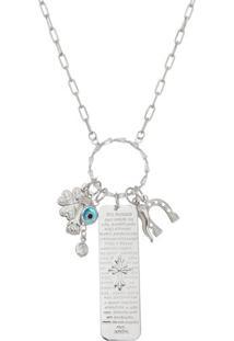Colar Amuletos Folheado A Rã³Dio- Prateado & Azul- 76Isabela Borgonian