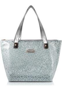 Bolsa Shopper Transparente Jacki Design Diamantes Cinza Claro - Kanui